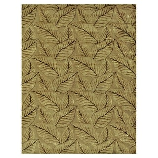 "Grand Bazaar Hand-knotted Wool & Art Silk Leafscape Rug in Sage/Green 7'-9"" x 9'-9"""