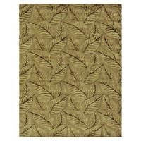 "Grand Bazaar Hand-knotted Wool & Art Silk Leafscape Rug in Sage/Green 7'-9"" x 9'-9"" - 7'-9"" x 9'-9"""
