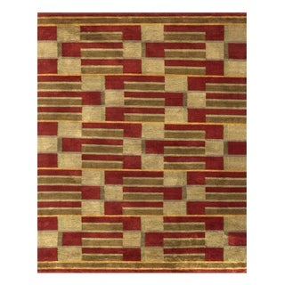 Grand Bazaar Hand-knotted Wool and Art Silk Keystone Area Rug in Gold (7'9 x 9'9)