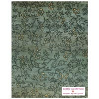 Grand Bazaar Hand-knotted 100-percent Wool Pile Verdigris Area Rug in Blue/ Multi (7'9 x 9'9)
