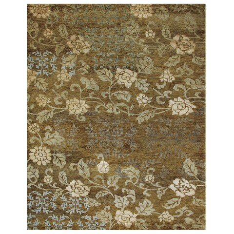 "Grand Bazaar Hand-knotted Wool & Art Silk Qing Rug in Ochre 7'-9"" x 9'-9"" - 7'9"" x 9'9"""