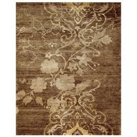 """Grand Bazaar Hand-knotted Wool & Art Silk Qing Rug in Brown 7'-9"""" x 9'-9"""" - 7'-9"""" x 9'-9"""""""