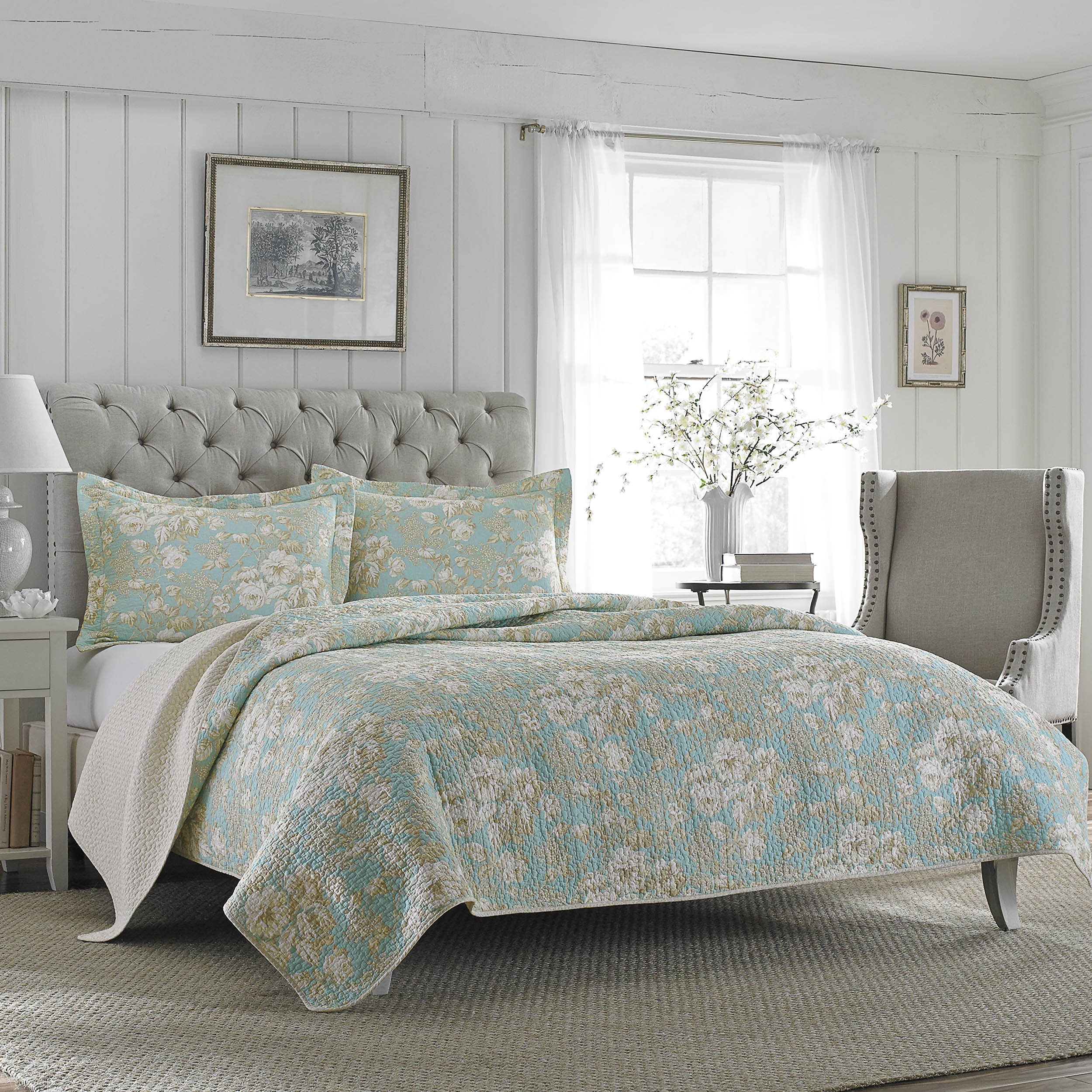 Laura Ashley Brompton Serene Reversible Cotton Quilt Set ...