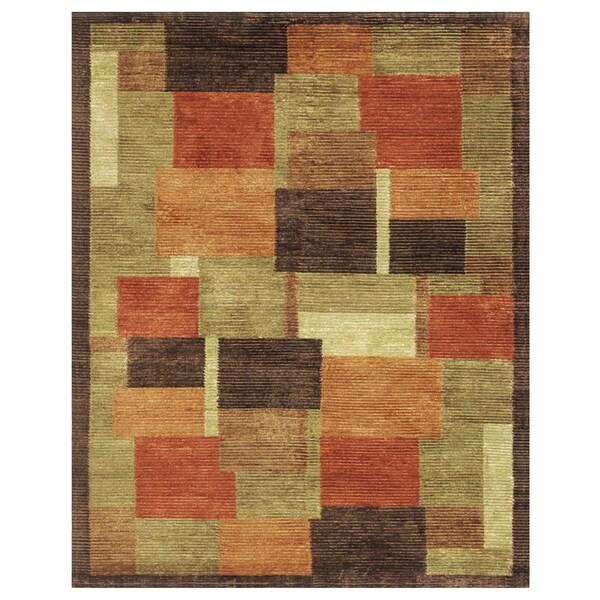 Grand Bazaar Hand-knotted Wool and Art Silk Keystone Area Rug in Multi (7'9 x 9'9)