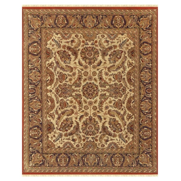 Grand Bazaar Hand-knotted 100-percent Wool Pile Edmonton Area Rug in Cream/ Charcoal (7'9 x 9'9)-9