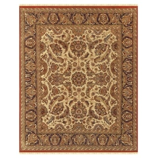 "Grand Bazaar Hand-knotted 100-percent Wool Pile Edmonton Rug in Cream/Charcoal 7'-9"" x 9'-9"""