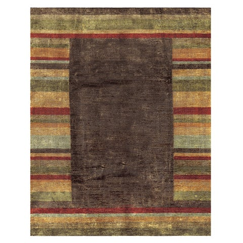 "Grand Bazaar Hand-knotted Wool & Art Silk Keystone Rug in Multi 7'-9"" x 9'-9"" - 7'9"" x 9'9"""