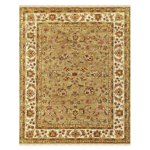"""Grand Bazaar Hand-knotted 100-percent Wool Pile Wimbledon Rug in Sand/Ivory 5'-6"""" x 8'-6"""" - 5'6"""" x 8'6"""""""