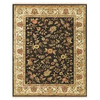 "Grand Bazaar Hand-knotted 100-percent Wool Pile Wimbledon Rug in Charcoal/Sand 5'-6"" x 8'-6"" - 5'-6"" x 8'-6"""
