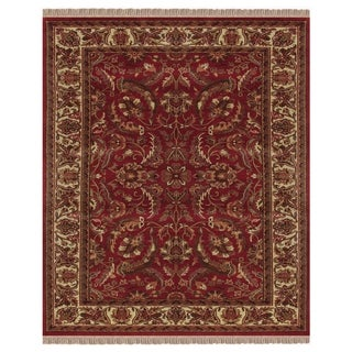 """Grand Bazaar Hand-knotted 100-percent Wool Pile Edmonton Rug in Red/Ivory 7'-9"""" x 9'-9"""" - 7'9"""" x 9'9"""""""
