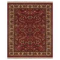 """Grand Bazaar Hand-knotted 100-percent Wool Pile Edmonton Rug in Red/Ivory 7'-9"""" x 9'-9"""" - 7'-9"""" x 9'-9"""""""