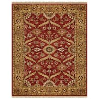 "Grand Bazaar Hand-knotted 100-percent Wool Pile Pietra Rug in Red/Gold 5'-6"" x 8'-6"" - 5'-6"" x 8'-6"""