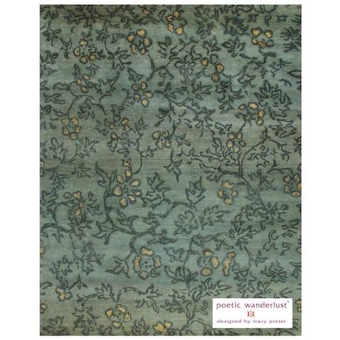 "Grand Bazaar Hand-knotted 100-percent Wool Pile Verdigris Rug in Blue/Multi 5'-6"" x 8'-6"" - 5'6"" x 8'6"""