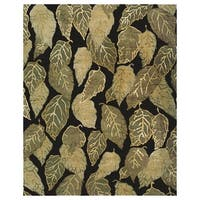 "Grand Bazaar Hand-knotted Wool & Art Silk Leafscape Rug in Black 5'-6"" x 8'-6"" - 5'6"" x 8'6"""