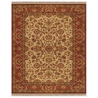 "Grand Bazaar Hand-knotted 100-percent Wool Pile Edmonton Rug in Ivory/Red 5'-6"" x 8'-6"" - 5'6"" x 8'6"""