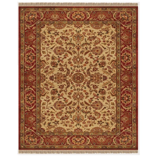 """Grand Bazaar Hand-knotted 100-percent Wool Pile Edmonton Rug in Ivory/Red 5'-6"""" x 8'-6"""" - 5'6"""" x 8'6"""""""