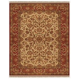 Grand Bazaar Hand-knotted 100-percent Wool Pile Edmonton Area Rug in Ivory/ Red (5'6 x 8')