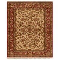 """Grand Bazaar Hand-knotted 100-percent Wool Pile Edmonton Rug in Ivory/Red 5'-6"""" x 8'-6"""" - 5'-6"""" x 8'-6"""""""