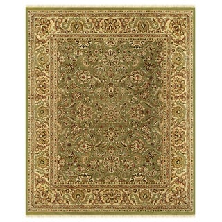 "Grand Bazaar Hand-knotted 100-percent Wool Pile Edmonton Rug in Light Green/Cream 5'-6"" x 8'-6"" - 5'6"" x 8'6"""