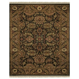 "Grand Bazaar Hand-knotted 100-percent Wool Pile Edmonton Rug in Charcoal/Charcoal 5'-6"" x 8'-6"" - 5'6"" x 8'6"""