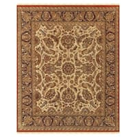 "Grand Bazaar Hand-knotted 100-percent Wool Pile Edmonton Rug in Cream/Charcoal 5'-6"" x 8'-6"" - 5'-6"" x 8'-6"""
