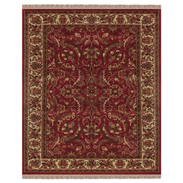"Grand Bazaar Hand-knotted 100-percent Wool Pile Edmonton Rug in Red/Ivory 5'-6"" x 8'-6"" - 5'6"" x 8'6"""