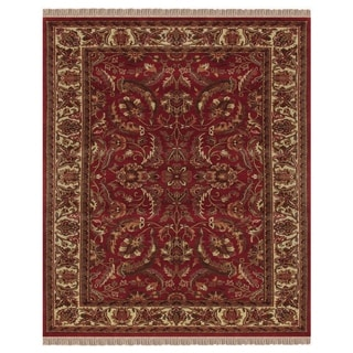 Grand Bazaar Hand-knotted 100-percent Wool Pile Edmonton Area Rug in Red/ Ivory (5'6 x 8')