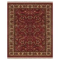 "Grand Bazaar Hand-knotted 100-percent Wool Pile Edmonton Rug in Red/Ivory 5'-6"" x 8'-6"" - 5'-6"" x 8'-6"""