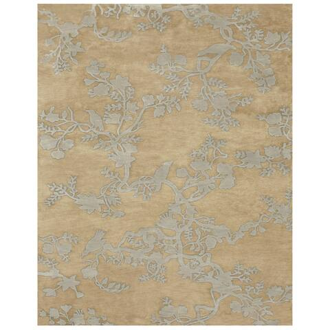"""Grand Bazaar Hand-knotted 100-percent Wool Pile Bodhi Rug in Light Gold 5'-6"""" x 8'-6"""" - 5'6"""" x 8'6"""""""