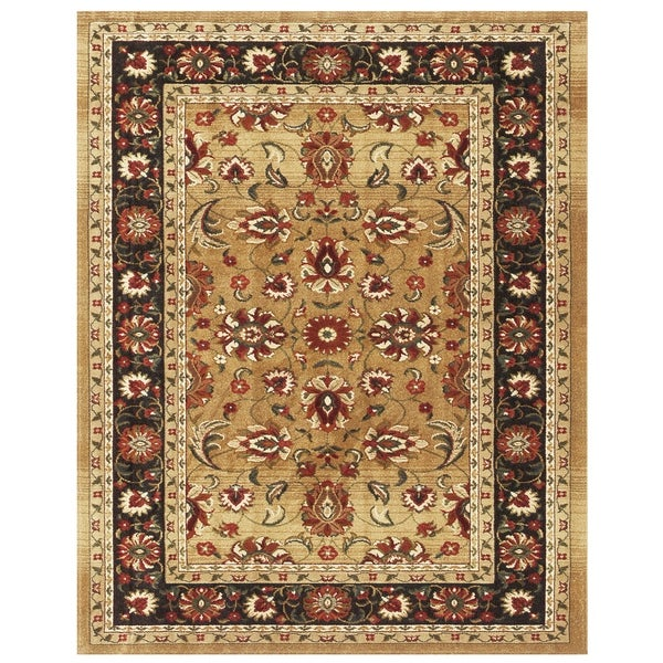 "Grand Bazaar Power Loomed Wilshire Rug in Beige/Charcoal 5'-3"" X 7'-9"" - 5'3"" x 7'9"""