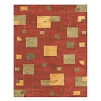 Grand Bazaar Tufted 100-percent Wool Pile Tangent Rug in Red - 5' x 8'