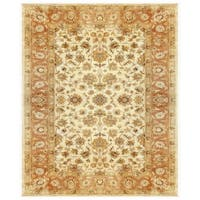 Grand Bazaar Tufted 100-percent Wool Pile Ziba Rug in Ivory/Peach - 5' x 8'