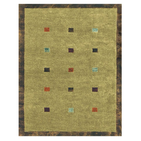 Grand Bazaar Hand-knotted Wool & Art Silk Sausalito Rug in Moss - 5' x 8'