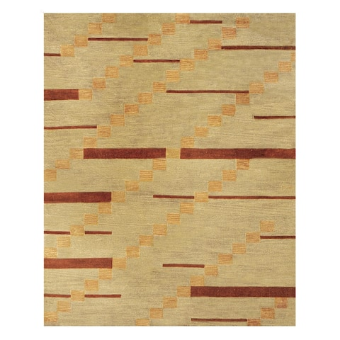 Grand Bazaar Tufted 100-percent Wool Pile Tangent Rug in Smoke Tufted Modern & Contemporary Rug - 5' x 8'