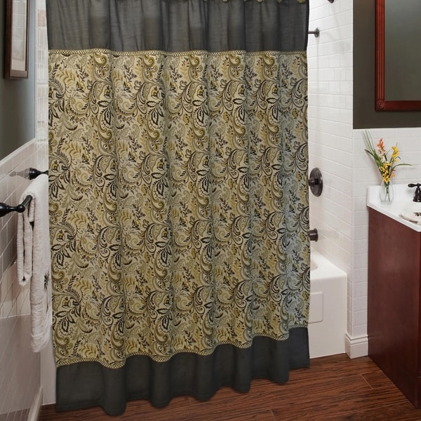 Jabots And Swags Curtains India Ink Shower Curtains
