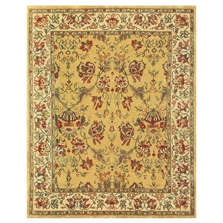Grand Bazaar Hand-knotted 100-percent Wool Pile Tamara Rug in Gold/Ivory 5' x 8'