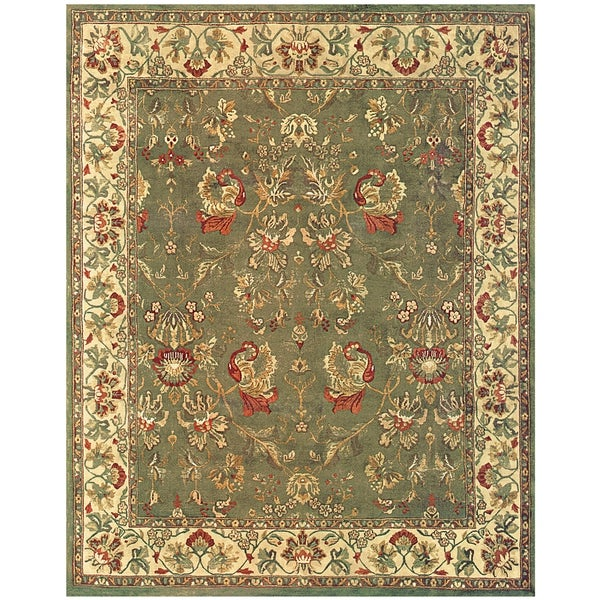 Grand Bazaar Hand-knotted 100-percent Wool Pile Tamara Area Rug in Olive/ Ivory (5' x 8')