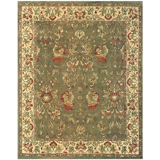 Grand Bazaar Hand-knotted 100-percent Wool Pile Tamara Rug in Olive/Ivory 5' x 8'