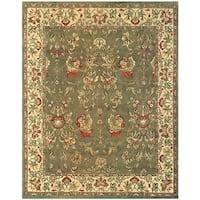 Grand Bazaar Hand-knotted 100-percent Wool Pile Tamara Rug in Olive/Ivory 5' x 8' - 5' x 8'