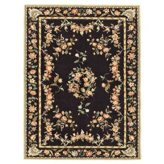 Grand Bazaar Tufted 100-percent Wool Pile Parisian Area Rug in Black (5' x 8')