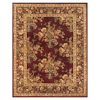 Grand Bazaar Tufted 100-percent Wool Pile Natasha Rug in Burgundy/Burgundy 5' x 8' - 5' x 8'