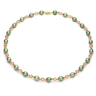 DaVonna 14k Yellow Gold Green Cultured Pearls and Pink Austrian Crystal Necklace