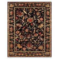 Grand Bazaar Tufted 100-percent Wool Pile Natasha Rug in Black/Black - 5' x 8'