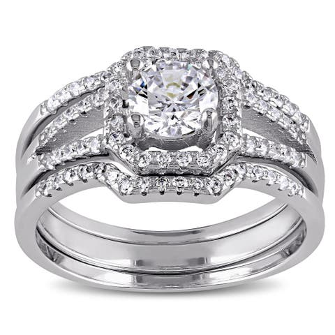 Miadora Sterling Silver Cubic Zirconia 3-piece Bridal Ring Set