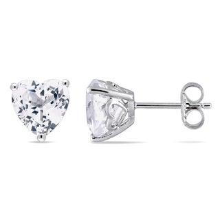 Miadora Sterling Silver TGW Created White Sapphire Heart Solitaire  Earrings