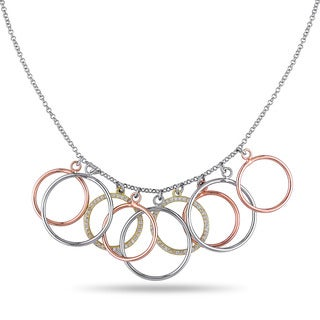 Miadora Three-tone Silver Cubic Zirconia Circle Necklace