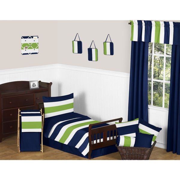 Navy Blue Lime Green Stripe Boys 5 Piece Toddler Bedding