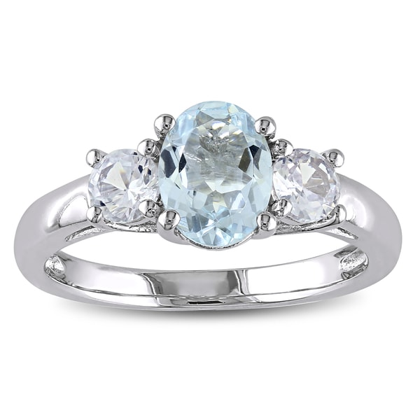 Miadora Sterling Silver Aquamarine and Created White Sapphire 3-stone Ring