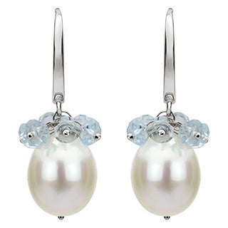 DaVonna 14k White Gold White Cultured Pearl and Blue Topaz Dangle Earrings