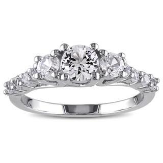 Miadora Sterling Silver Created White Sapphire 3-stone Ring